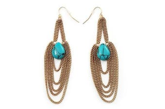 Gold Plated Turquoise Style Stone Chain Drop Earrings - 10cm Length