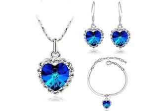 Romantic Dark Royal Blue Hearts Love Jewellery Set Earrings Necklace & Bracelet S300