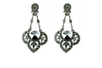 Black on Antique Silver Ornate Chandelier Earrings