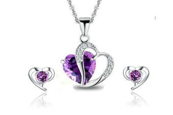 findout Rhodium Plated Amethyst Crystal Heart sterling Silver Necklace + earring set (f497)thanks for all the customers a merry Christmas. lower price