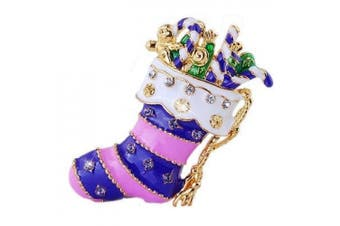 Amazing Gift for Xmas Purple Santa Sock Christmas Brooch Pin Gift BR159