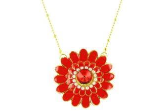 ilovefj Orange on Gold Plated Bright Sunflower Necklace