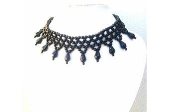 Black Bead Ball Fancy Dress Sexy Party Burlesque Choker Necklace