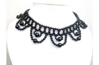 Black Jet Bead High Neck Gothic Prom Moulin Fancy Dress Party Stretch Choker Necklace