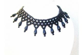 Black Bead Moulin Rouge Rock Collar Stretchy Necklace Choker Fashion Jewellery