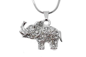 Acosta - Small Silver Coloured - Girls Crystal Elephant Necklace - Gift Boxed