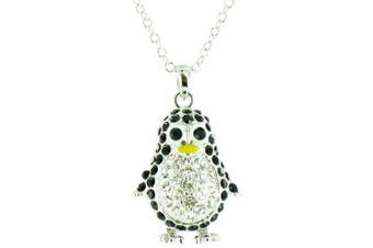 Black and Clear Crystal on Silver Plated Bling Penguin Necklace