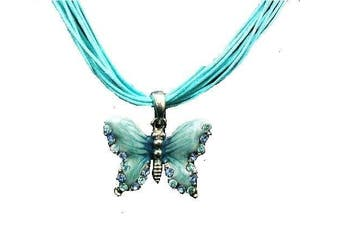 Turquoise Crystal Diamante Enamel Butterfly Corded Fancy Fashion Necklace Pendant