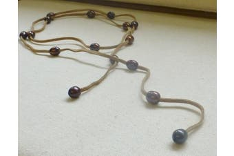 Bronze Freshwater Pearl and Beige Suede Lariat Necklace