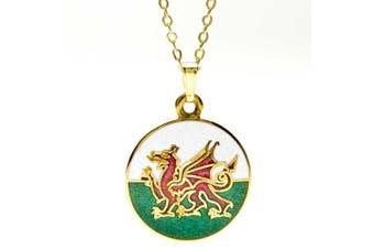Enamel Welsh Dragon Pendant Necklace