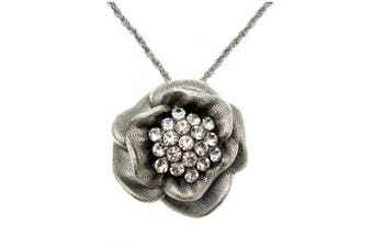 Acosta - Silver Tone with Clear Crystal - Large Rose Flower Necklace