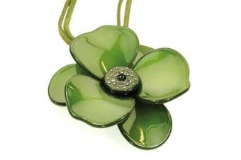 Gorgeous resin flower Necklace - Pendant in olive green with sparkly centre, 46cm . (adjustable up to 50cm .) beautiful gift packaging