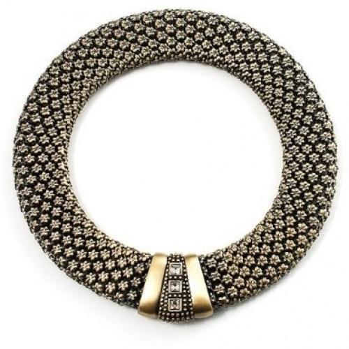 Avalaya Multistrand Black Silk Cord Necklace In Silver Tone 40cm L