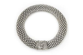 Avalaya Wide Chunky Mesh Magnetic Choker Necklace in Silver Plating - 40cm Length