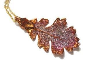 Real Oak leaf iridescent copper pendant necklace