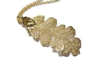 Real Oak leaf gold pendant necklace
