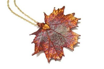 Real Maple leaf iridescent copper necklace