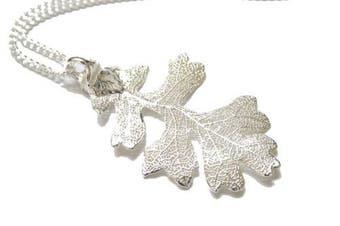 Real Oak leaf silver pendant necklace