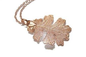 Real Oak leaf rose gold pendant necklace