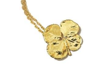 Real Four Leaf Clover Irish Shamrock gold pendant necklace