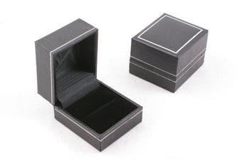 Jet Leatherette Ring Box