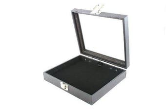 Display Case with Glass Lid & Clasp + Black Velvet Pad Insert