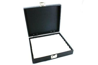 Ring Display Box Solid Lid Silver Clasp + White Ring Rolls