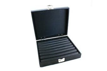 Ring Display Box Solid Lid Silver Clasp + Black Ring Rolls