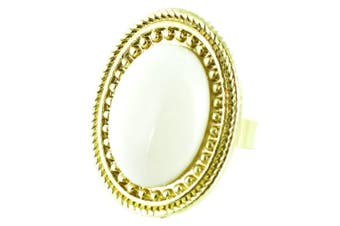 ilovefj White on Gold Plated Oval Stone Ring