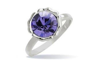 Klaritta Silver Tone & Amethyst Purple Round Shaped Ring Medium Size O/ US=7 Diameter 17 mm FR47LP