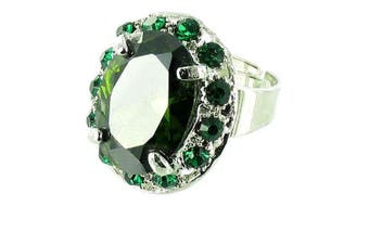 Green on Silver Plated Clasped Round Solitaire Ring
