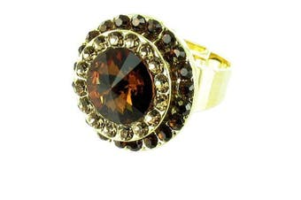 Brown on Gold Plated Round Stone Cocktail Ring