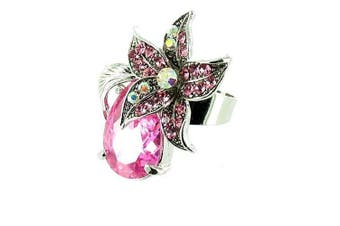 Pink on Silver Plated Teardrop and Flower Cocktail Ring