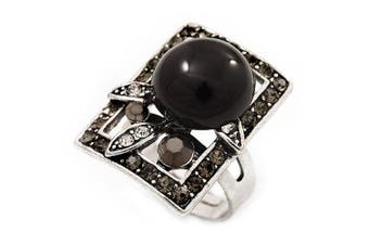 Square Diamante Fancy Ring In Burn Silver Metal