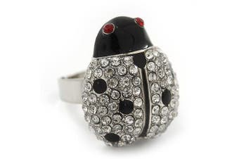 Rhodium Plated. Crystal and Enamel 'Catarina' Lady Bug Ring (Adjustable) - Size7/8