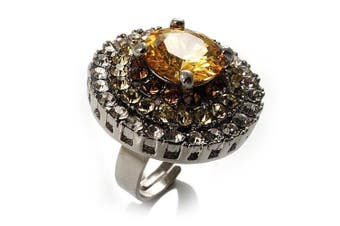Light Citrine CZ Statement Cocktail Ring