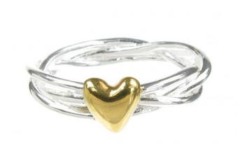 Cavendish French - Sterling silver and gold vermeil heart and wreath ring