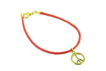 ilovefj Gold on Red Peace Sign Bracelet