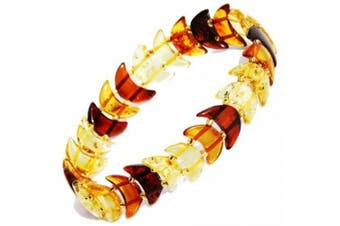 Baltic Amber Moon Bracelet, stretch to fit wrists of all sizes. Comes with lovely gift box.