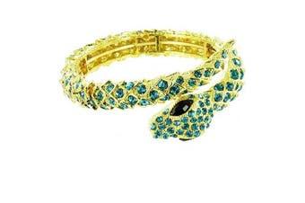 Blue on Gold Plated Stunning Snake Bracelet
