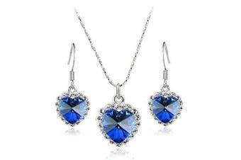 Klaritta Heart Of Ocean Royal Blue Crystal Jewellery Set Drop Earnings & Necklace S127