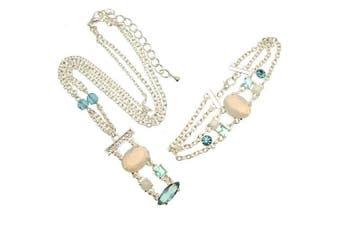 Acosta - Pastel Rose Pink Opal Crystal Stone - Multi-Coloured Necklace & Bracelet Set