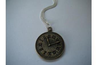 Steampunk Vintage Brass Effect Clock Face Necklace