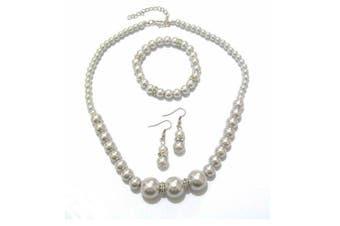 Light Grey Pearl Diamante Crystal Necklace Bracelet Earrings Bridesmaid Dress Jewellery Set