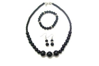 Black Pearl Diamante Crystal Necklace Bracelet Earrings Jewellery Set