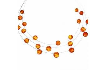 Cognac Baltic Amber Layer Illusion Necklace 'Fantasy 3'.