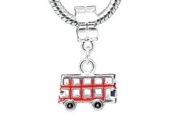 Believe Beads © 1 x Silver Plated Red Double Decker London Bus Charm Bead for Pandora/Troll/Chamilia Style Charm Bracelet