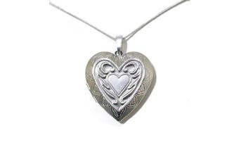 Love Heart Antique Silver Vintage Victorian Style Gift Dress Locket Necklace Pendant Jewellery