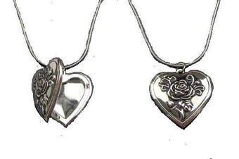 Love Heart Flower Antique Silver Vintage Style Gift Dress Locket Necklace Pendant Jewellery