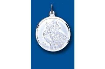 Unique Wishlist Sterling Silver 20mm Plain Edge Round Reversable St.Christopher - Pendant Only